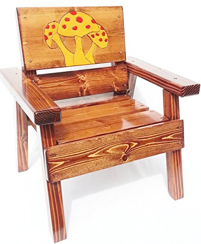 Kids Outdoor Wooden Chair, Childrens Furniture, Heirloom Gift, Engraved and Painted Yellow Mushroom