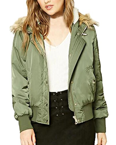 Biker Sleeves Outwear Green Coat Women's Padded Bomber Army Long Jacket Hooded Kidsform Short Winter Classic xYq7nwZvw