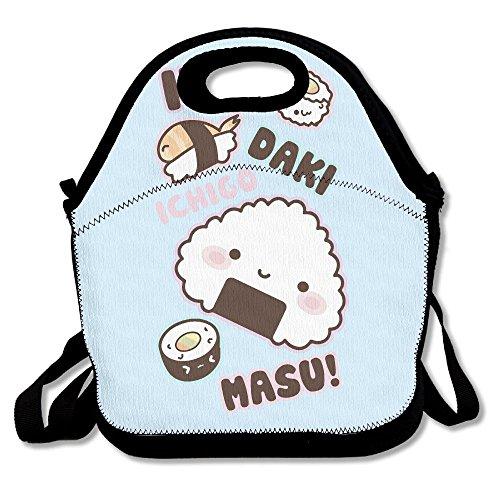 TDynasty Fashion Designer Lunch Box Outdoor Travel Picnic Lunch Box Bag Messenger Lunch Bag Sushi Onigiri Adjustable Body Strap Bag -
