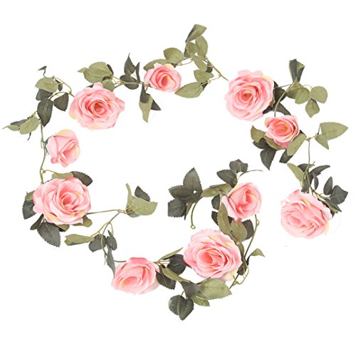 Vintage 1 Garden (Kokkn Vintage Artificial Fake Silk Rose Flower Ivy Vine Leaf Garland Hanging Vine Wedding Home Garden Wall Indoor Party Decor 1 PCS (Pink))