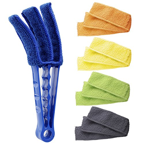 Hiware Window Blind Cleaner Duster Brush with 5 Microfiber Sleeves - Blind Cleaner Tools for Window Blinds Air Conditioner Jalousie Dust (Slat Back Piece 5)