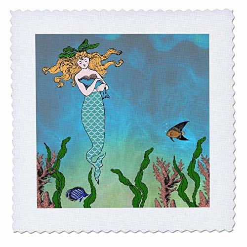 3dRose qs_112836_1 かわいいかわいいかわいいマーメイド抱きしめる 赤ちゃん用海のキルト正方形の下の神話的なヴィンテージアート 10x10インチ