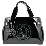 Armani Jeans women's handbag shopping bag purse embossed logo black