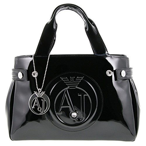Armani Jeans women's handbag shopping bag purse embossed logo black by ARMANI JEANS