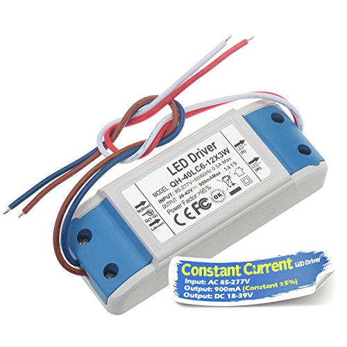 Chanzon LED Driver 900mA (Constant Current Output) 18V-39V (Input 85-277V AC-DC) (6-12)x3 18W 21W 24W 27W 30W 36W Power Supply 900 mA Lighting Transformer for High Power 30 W COB Chips (Plastic Case)