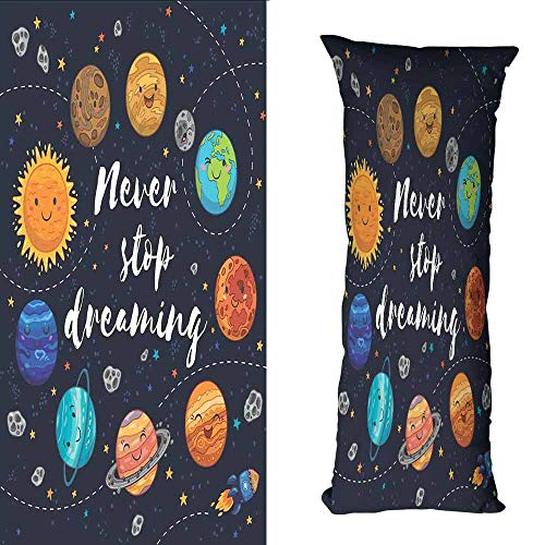 DuckBaby Breathable Pillowcase Quote Outer Space Planets and Star Cluster Solar System Moon and Comets Sun Cosmos Illustration Anti-Fading W19.5 xL59 Multi ()