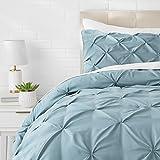 AmazonBasics Pinch Pleat Comforter Set - Twin, Spa Blue