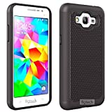Fancycellexpress Black Heavy Duty Hybrid Hard Silicone Case Cover For Samsung Galaxy Grand Prime SM-G530W + Screen Protector
