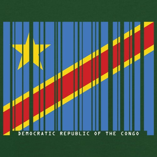 Democratic Republic of the Congo / Demokratische Republik Kongo Barcode Flagge - Herren T-Shirt - Flaschengrün - L