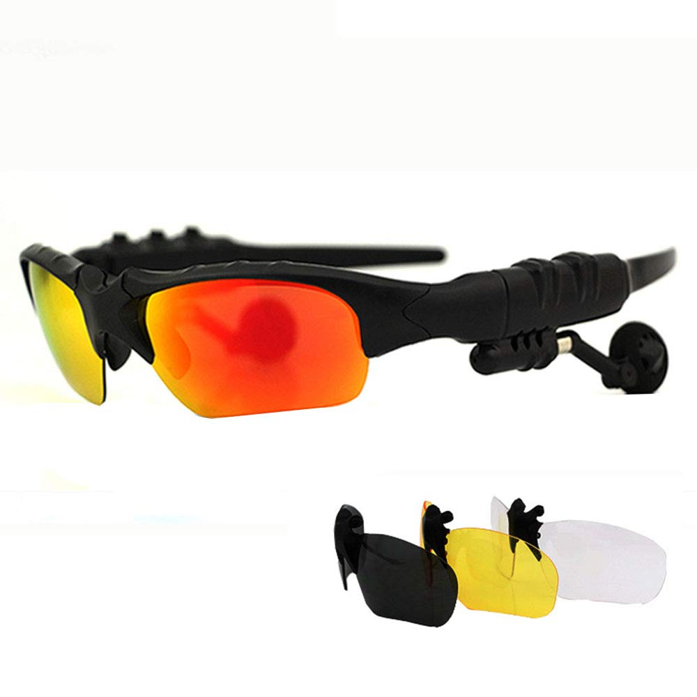 Red Smart blueeetooth Glasses for Men and Women, Wireless headsets Listen to Songs Sports Drivers Drive Polarized Sunglasses, Suitable for Cycling Reading Walking Fishing Selfie Travel