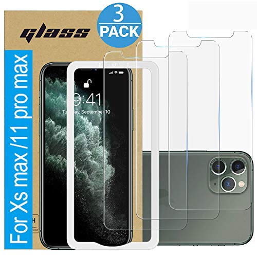 (3 Pack ) Amuoc Tempered Glass Film for Apple iPhone 11 Pro MAX Screen Protector and iPhone Xs MAX Screen Protector , with (Easy Installation Tray) Anti Scratch, Bubble Free