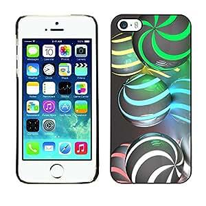 TopCaseStore / la caja del caucho duro de la cubierta de protección de la piel - Sphere Swirl Green Gray - Apple iPhone 5 / 5S