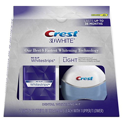 Crest Whitening Strips (Crest 3D White Whitestrips with Light Teeth Whitening Kit, 10 Treatments)