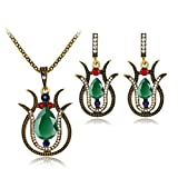 Susenstone Jewelry Set, Diamond gemstone necklace +earrings Beautiful Accessories for Women Girl