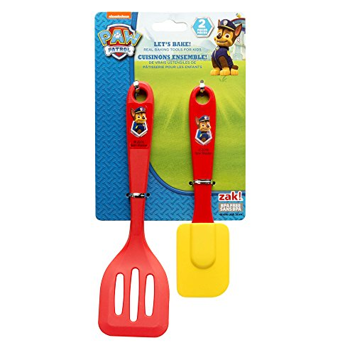 Zak Designs Lets Bake! Turner and Spatula for Cooking with Kids, Paw Patrol Chase by Nickelodeon
