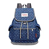Aobiny Backpack Denim Student Backpack With Buckled Leisure Backpack (Blue)