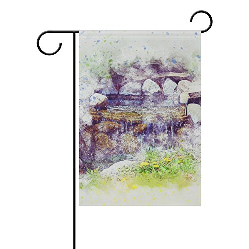 Home Decorative Outdoor Double Sided Fountain Water Art Abstract Stones Nature Garden Flag,house Yard Flag,garden Yard Decorations,seasonal Welcome Outdoor Flag 12 X 18 Inch Spring Summer Gift by DNOVING