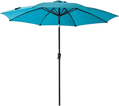 C-Hopetree 10 Outdoor Patio Umbrella Market Style with Aluminum Pole and Tilt for Outside Table Garden Shade or Deck, Aqua Blue