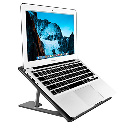 SOUNDANCE Aluminum Laptop Stand Adjustable, Compatible with Apple Mac MacBook 10 to 14 Inch Notebook, Ventilated Portable Ergonomic Desktop Holder Riser for Office Desk, Metal Black AS1