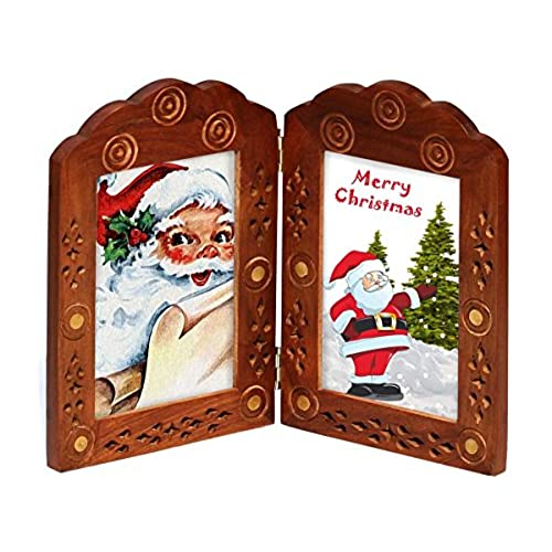 vintage look double photo frame for 3x5 pictures christmas holiday deals 2017 hand carved solid wood picture frame decorative antique look lattice and - Wooden Frames