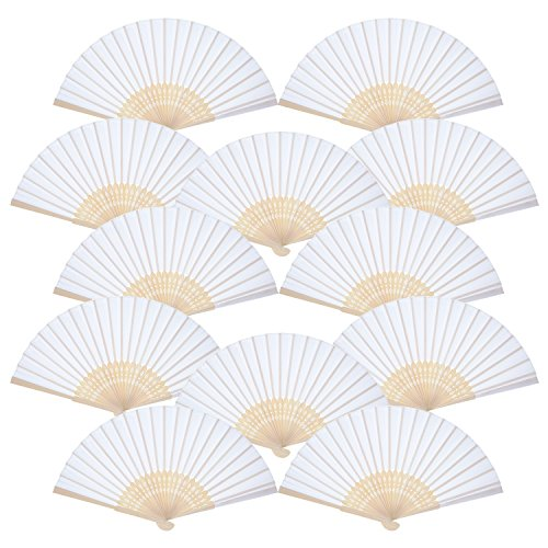Bememo Hand Held Fans Silk Bamboo Folding Fans Handheld Folded Fan for Church Wedding Gift, Party Favors, DIY Decoration (12 Pack, White) -