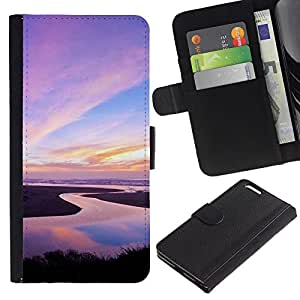 KLONGSHOP // Tirón de la caja Cartera de cuero con ranuras para tarjetas - Naturaleza Pink Sky - Apple Iphone 6 PLUS 5.5 //