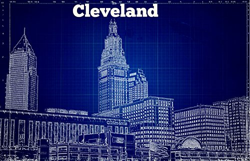 Cleveland Skyline, Blue Print, Indian, Browns, Blue White, R