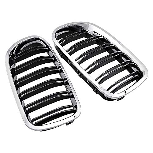 Anzio Compatible for BMW 2010-2017 F10 528i 535i 550i M5 Sedan 4DR Chrome Front Kidney Grille Grill Glossy Black Double Slat