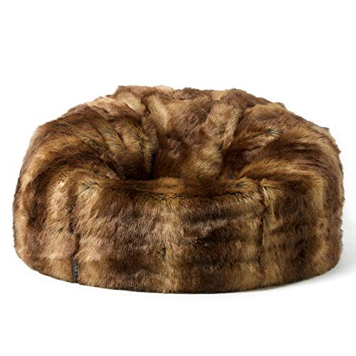 Icon Faux Fur Bean Bag Chair Brown Bear Extra Large