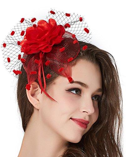 Girls Tea Party Derby Fascinator Hat Bridal Headpiece 20s Feather Flower Headband