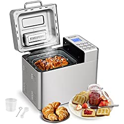 COSTWAY Automatic Bread Maker Stainless Steel Programmable Multifunctional Bread Machine with 15 Programs, 3 Loaf Sizes, 3 Crust Colors, 15 Hours Delay Timer, 1 Hour Keep Warm (15 Programs 600W)