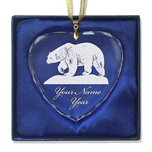 SkunkWerkz Christmas Ornament, Polar Bear, Personalized Engraving Included (Heart Shape)