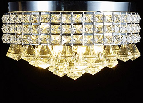 New-Legend-4-Light-Chrome-Finish-Metal-Shade-Flushmount-Crystal-Chandelier-Ceiling-Fixture