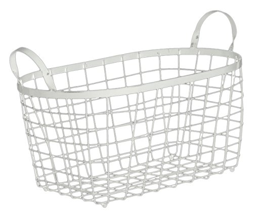 Set Leather Sofa Sedona (Urban Trends Metal Rectangular Wire Basket with Handles and Mesh Body Coated Finish (Set of 2), White)