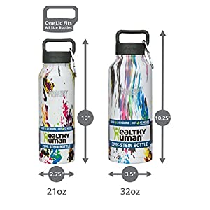 Healthy Human Water Bottle - Cold 24 Hours, Hot 12 Hours. Vacuum Insulated Stainless Steel Double Walled Thermos Flask with Carabiner & Hydro Guide - Art Deco - 32 oz