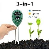 Abafia Soil Testing Kit, 3 in 1 Soil Tester Soil Moisture PH Meter, Soil PH and Light Acidity Tester, Gardening Tools for Home/Patio/Lawn/Garden/Farm (No Battery Need)