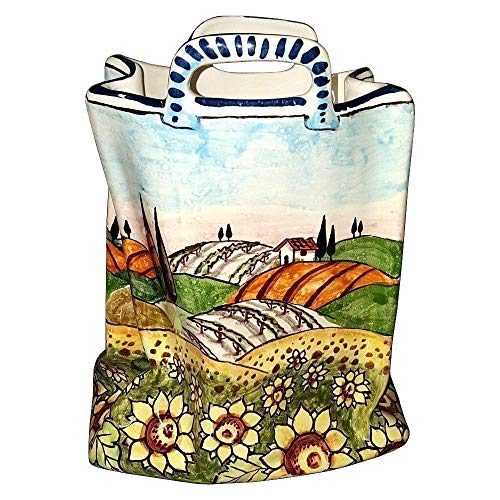 CERAMICHE D'ARTE PARRINI - Italian Ceramic Art Pottery Bag Planter Flowerpot Hand Painted Decorated Sunflowers Landscape Made in ITALY ()