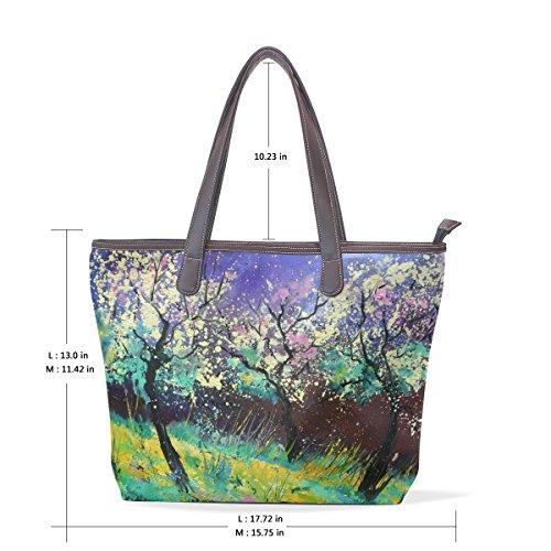 olio primavera COOSUN Tote paesaggio Large manico Pu Bag M di muticolour di cm 40x29x9 spalla Pittura cuoio in Borsa Womens rv1v0xI