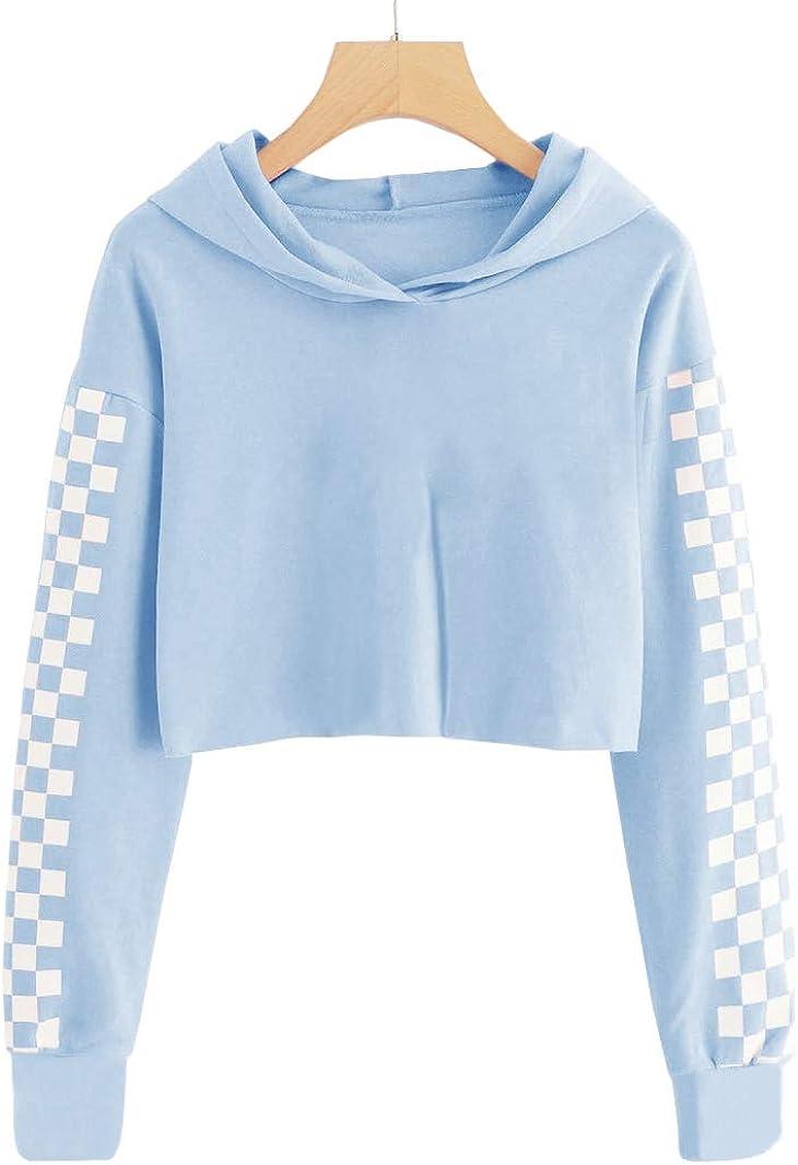 10-12 Years//Height:55in, Z1-Camo Imily Bela Kids Crop Tops Girls Hoodies Cute Plaid Long Sleeve Fashion Sweatshirts