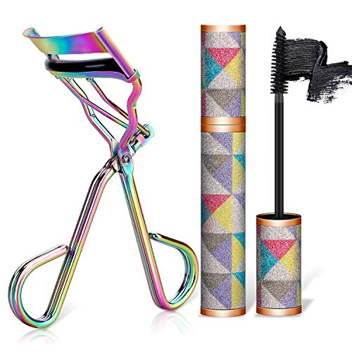 Eyelash Curler with waterproof mascara & Satin Bag & Refill Pads,No Pinch Design Lash Curling Tool Set for Eye Safety & Stunning Eyelashes(Multicolour) (Bloom Waterproof Mascara)