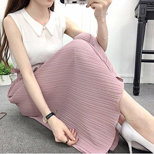 Taille Femme Mousseline Plisse Pantalon en Ample Pantalon Haute Dcontract Large Pink Pantalon Fluide E5FaWRqTn