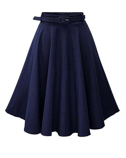 Mujer Faldas Vaquera Cintura Alta Falda Plisada Corto con Cinturón ...