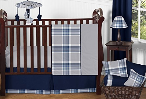Designer Crib - Sweet Jojo Designs 11-Piece Rustic Designer Navy Blue and Gray Boys Plaid Baby Bedding Crib Set Without Bumper