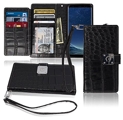 S8 Plus Wallet Case, Matt [ 8 Pockets ] 7 ID / Credit Card 1 Cash Slot, Power Magnetic Clip With Wrist Strap For Samsung Galaxy S 8 Plus Leather Cover Flip Diary (Black) (Paris S Case 3 Samsung Galaxy)