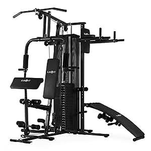 Klarfit Ultimate Gym 5000 multiestación de musculación (entrenamiento profesional, robusto armazón, poleas, pesos ajustables, múltiples ejercicios para brazos, piernas, espalda, hombros y pecho) - negro
