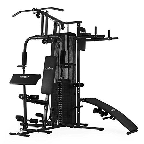 Klarfit Ultimate Gym 5000 Multi-Kraftstation Fitness-Station für über 50 Übungen z. B Dip, Sit-Up, Butterfly, Bein, Bauch, Arm, und Rücken-Trainer (inkl. 58,5 kg Gewichte, Seilzug, Hanteln und Polster) schwarz