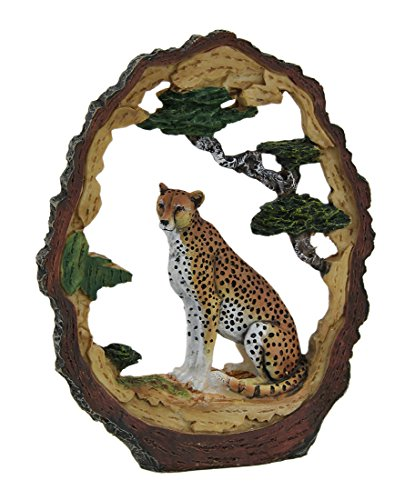 [Tree Trunk Vistas Carved Wood Look Cheetah Decorative Statue] (Wood Carved Trunk)