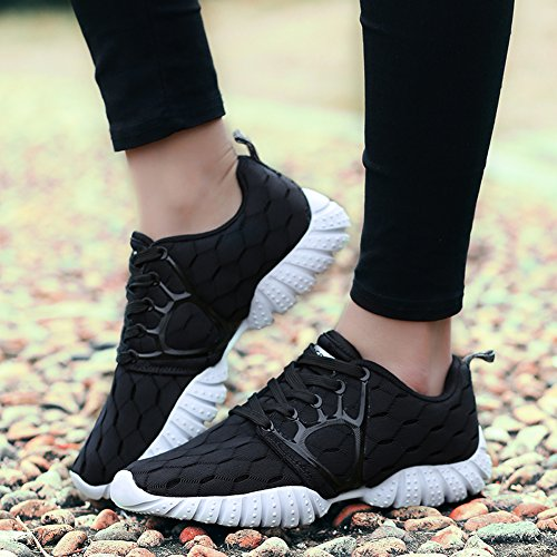 Gomnear Running Shoes Lightweight Men Non-Slip Lace-up Breathable Athletic Fashion Sport Fitness Gym Walking Trainers Black ptJNr1vi7
