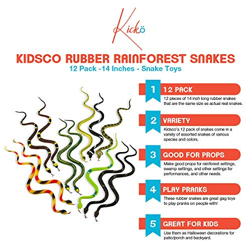 """12 RAIN FOREST RUBBER SNAKES 14/"""" REALISTIC WITH SCALES FREE SHIPPING GAG GIFT"""