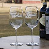 Best Friends Wine set of 2, Thelma and Louise Engraved Wine Glass Gift Set